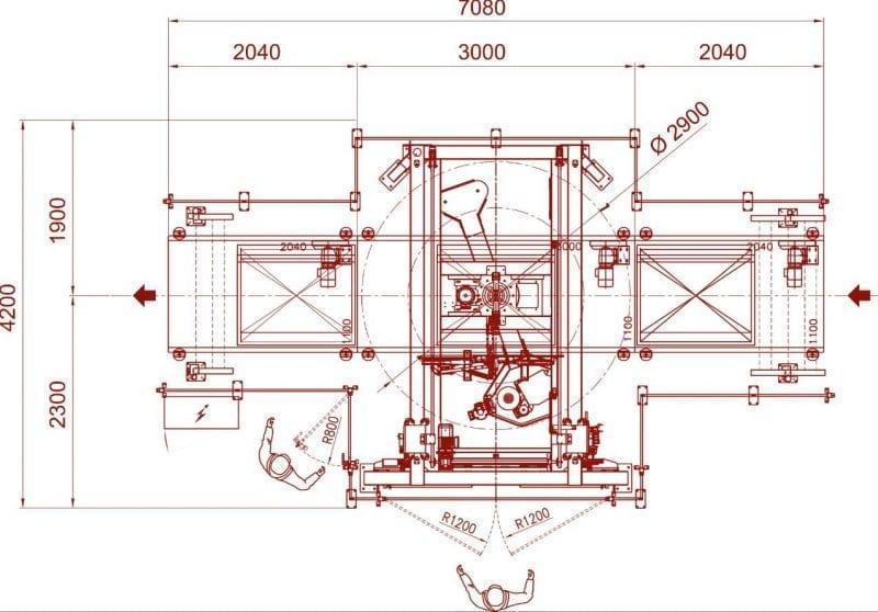 Palletwikkelaar CSA 975 tekening